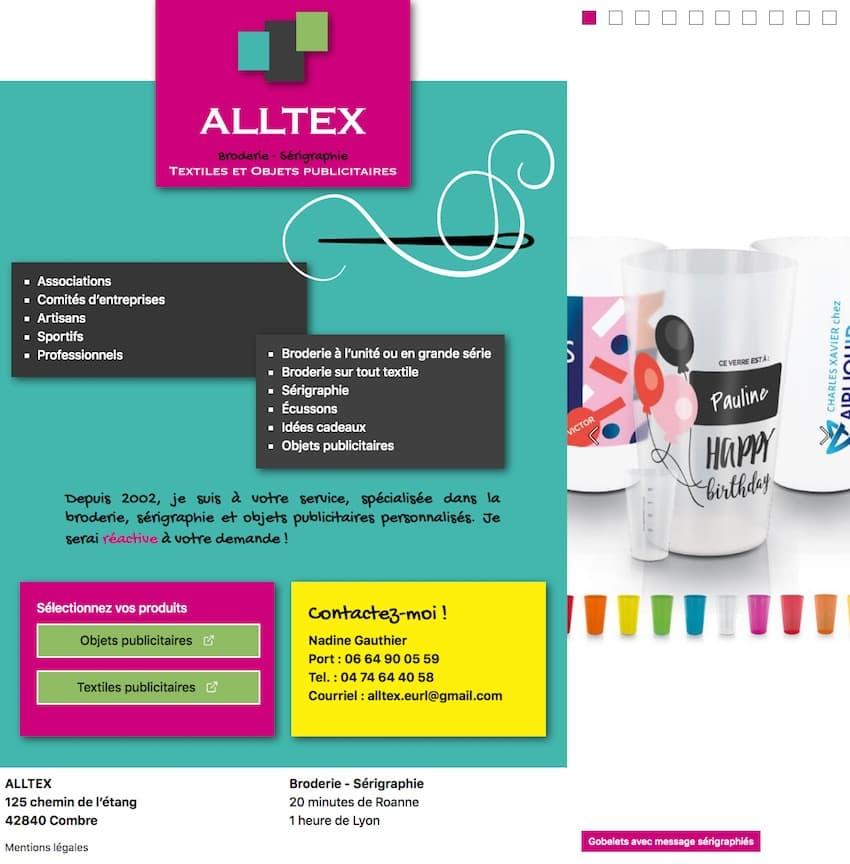 Alltex, site Internet pour service de broderie et de sérigraphie à Combre