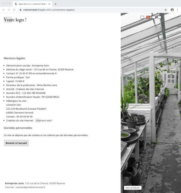 Mentions légales pour un site Internet statique d'une page
